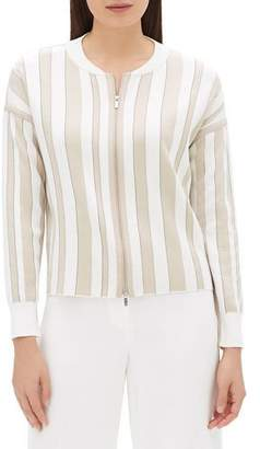 Lafayette 148 New York Zip-Front Striped Jacquard Bomber Jacket with Chain Detail