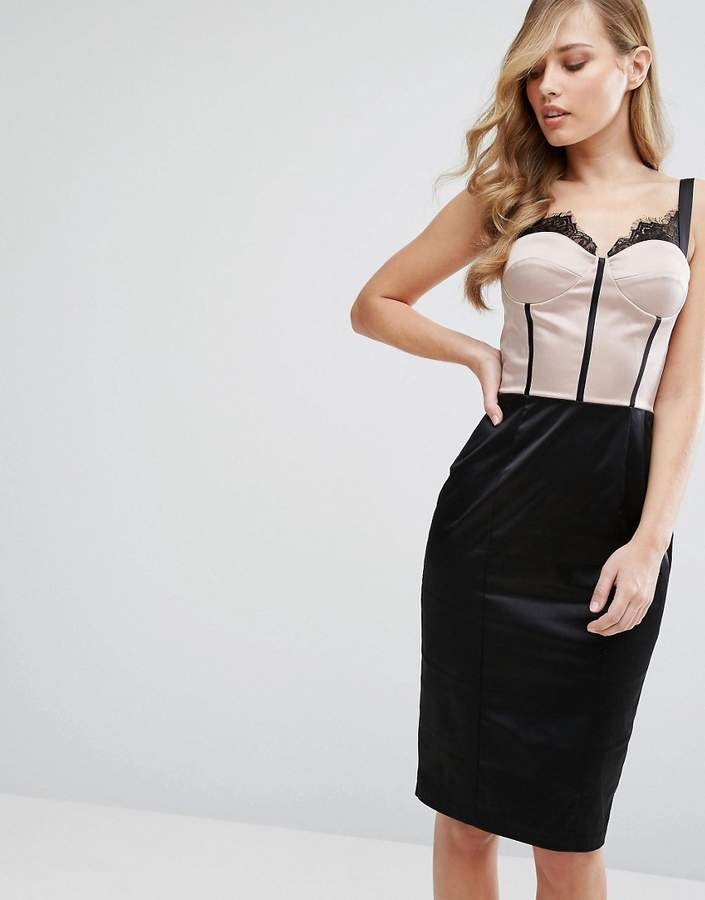 Elise Ryan Eyelash Lace Pencil Dress With Panelled Corset Detail