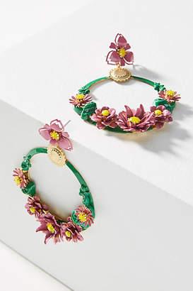 Elizabeth Cole Pearson Flower Hoop Earrings