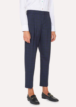 Paul Smith Women's Tailored-Fit Blue Tonal Check Wool Double-Pleat Pants