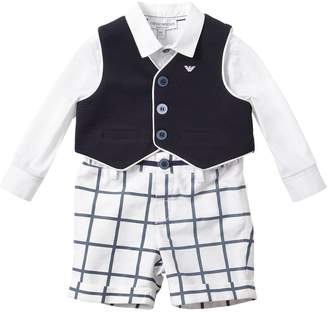 Emporio Armani Poplin Shirt & Cotton Check Pants W/Vest