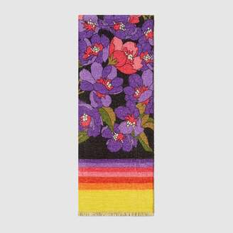 Gucci GG and flowers print silk cashmere scarf