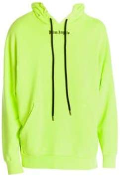 Palm Angels Men's Logo Over Hoodie - Fluorescent Pink Black - Size XXL