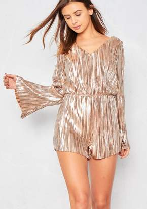 ed5dbe057d Missy Empire Missyempire Adrienne Gold Pleated Open Back Playsuit