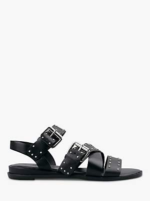 Hush Brimpton Stud Cross Strap Sandals, Black Leather/Silver