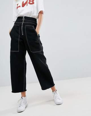 Asos Wide Leg Utility Jeans With Big Pockets And Contract Stitch In Black