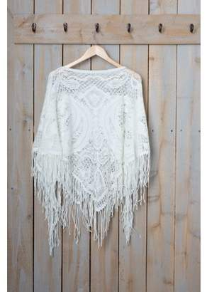 """Tickled Pink Fringed Vintage Poncho, 26"""" x 60"""", 100% Acrylic, Multiple Colors"""