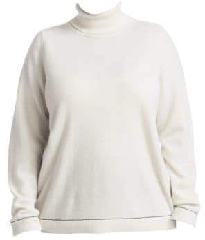 Lafayette 148 New York Lafayette 148 New York, Plus Size Lurex-Trim Cashmere Turtleneck Sweater