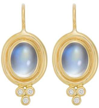 Temple St. Clair 18K Yellow Gold Classic Oval Earrings with Cabochon Royal Blue Moonstone and Diamond Granulation