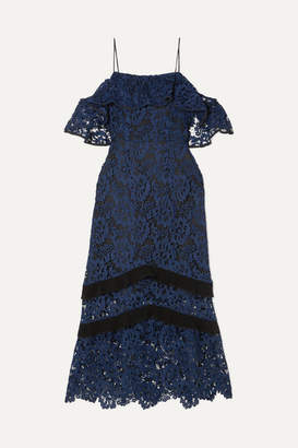 Rachel Zoe Poppy Cold-shoulder Guipure Lace Midi Dress - Navy