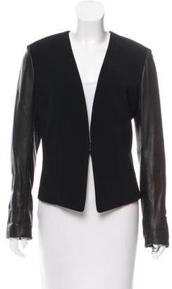 Rag & Bone Leather Sleeve Structured Jacket