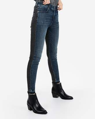 Express High Waisted Two-Tone Ankle Jean Leggings