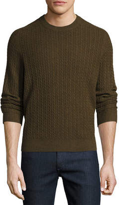Neiman Marcus Cable-Knit Cashmere Crewneck Sweater