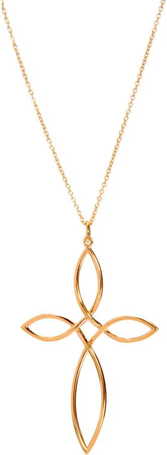 Dean Harris Gold Medium 'Vesica Piscis' Cross Pendant Necklace