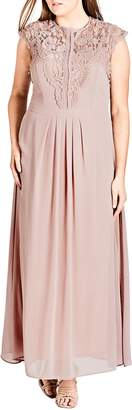 City Chic Lace Bodice Maxi Dress