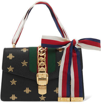 Gucci Sylvie Small Chain-embellished Printed Textured-leather Shoulder Bag - Black