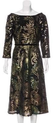 Marchesa Sequined Midi Dress w/ Tags