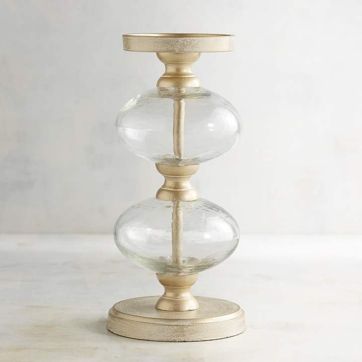 Clear Bubble Large Pillar Candle Holder