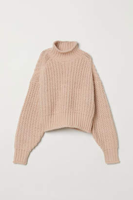 H&M Ribbed Turtleneck Sweater - Orange