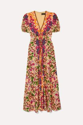 Saloni Lea Floral-print Silk Crepe De Chine Maxi Dress - Red