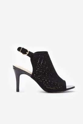 Wallis Black Peep Toe Heeled Sandal
