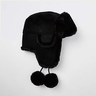 River Island Black faux fur suede pom pom trapper hat