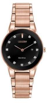 Citizen Eco-Drive Axiom Rose Goldtone Stainless Steel Bracelet Watch
