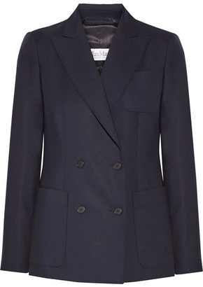 Arpa Double-breasted Wool-twill Blazer - Midnight blue