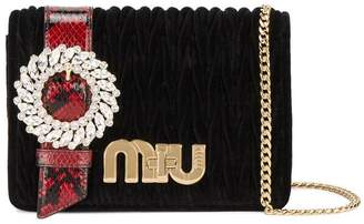 Miu Miu Black Velvet matelassé buckle bag