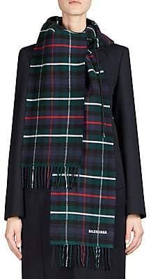 Balenciaga Women's Flannel Plaid Hoodie Scarf