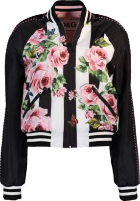 Dolce & Gabbana Floral And Striped Reversible Bomber Jacket