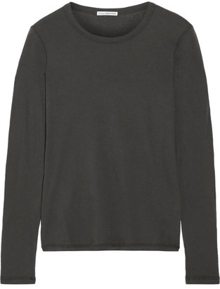 James Perse - Little Boy Tee Brushed-cotton Top - Dark gray $135 thestylecure.com