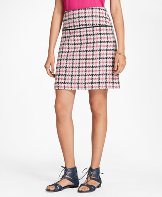 Brooks Brothers Checked Cotton-Blend Boucle Skirt