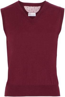 RED Valentino Point D'esprit-paneled Cashmere And Silk-blend Top