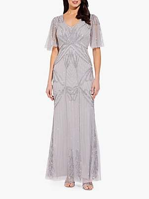 63639eb7a34af Adrianna Papell Beaded Long Dress, Bridal Silver