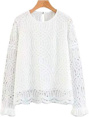 Goodnight Macaroon 'Elica' Eyelet Scallop Hem Lace Top