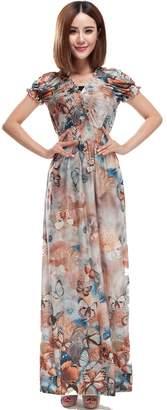 Femirah Women's Summer Floral Long Beach Dress Maxi Sundress
