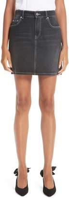 Ganni Black Washed Denim Miniskirt