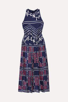 Valentino Pleated Printed Silk-twill Dress - Blue