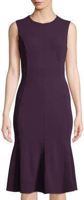 Iconic American Designer Sleeveless Seamed Flounce-Hem Midi Dress