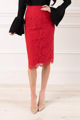 Rachel Parcell Holiday Lace Skirt in Classic Red