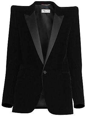 Saint Laurent Women's Velvet Tuxedo Blazer