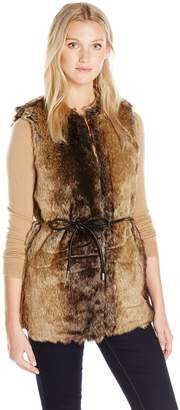 Vero Moda Women's Ada Faux Fur Vest with Tie At Waist