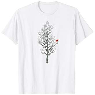 Winter Tree w/ Cardinal Bird T-Shirt Holiday Christmas