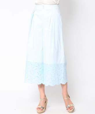 Viaggio Blu (ビアッジョ ブルー) - Viaggio Blu ≪大きいサイズ≫【セットアップ対応】裾ローン刺繍ワイドパンツ