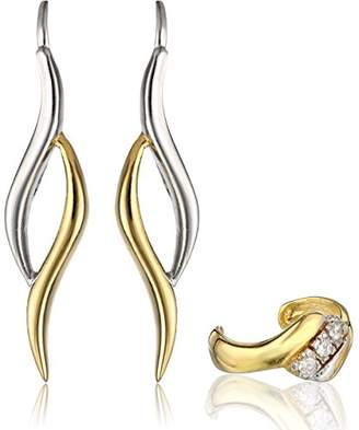 The Ear Pin Two Tone Sterling Silver Cubic Zirconia Earcuff Curve Earrings