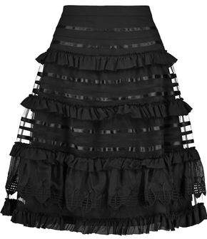 Temperley London Sea Ruffled Silk-Trimmed Mesh-Paneled Cotton Skirt