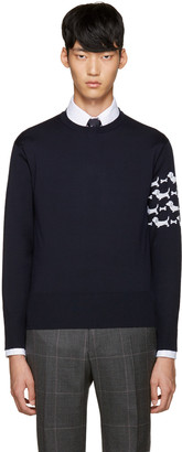 Thom Browne Navy Hector Arm Band Pullover $1,160 thestylecure.com