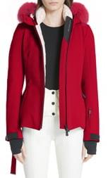 Moncler Bauges Water Repellent Hooded Down Coat with Detachable Genuine Fox Fur Trim