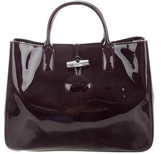 Longchamp Patent Leather Roseau Satchel